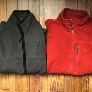Two Fleece Zip-Up Jackets (Nike and Nautica)